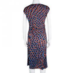 Issa Multicolour Printed Draped Sunset Jersey Dress L
