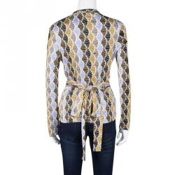 Issa Multicolor Printed Tie Waist Detail Long Sleeve Top L