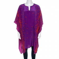 Issa London Purple Butterfly Printed Silk Beach Cover Up Kaftan ( One Size )
