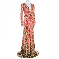 Issa Pink Abstract Print Silk Jersey Gathered Waist Maxi Dress S