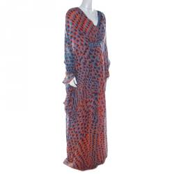 Issa Blue and Orange Print Silk Maxi Kaftan Dress M