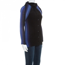 Issey Miyake Bicolor Pleated Long Sleeve Collared Top M
