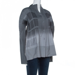 Issey Miyake Grey Plisse Detail Long Sleeve Button Front Shirt S
