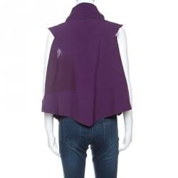 Issey Miyake Purple Wool Blend Geometric Patterned Buttoned Sleeveless Top XS