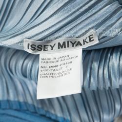 Issey Miyake Blue Creme Diagonal Pleated Sleeveless Dress S