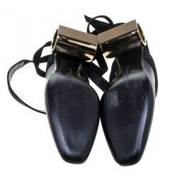 J.W.Anderson Black Leather Ankle Tie Cylindrical Heel Mules Size 37
