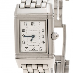 Jaeger LeCoultre White/Mother of Pearl Stainless Steel Diamonds Reverso Classic Duetto Women's Wristwatch 20 mm