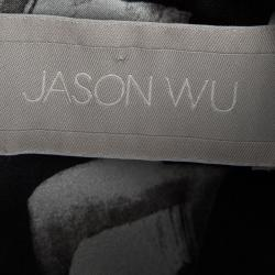 توب جيسون وو بلا أكمام تفاصيل طيات حرير طباعة زهور أسود M