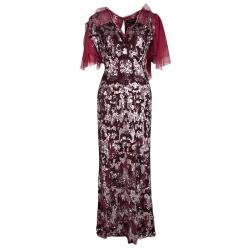 fb8cad722659d فستان جيني بيكهام ماكسي أكمام مكشكشة مزخرف ترتر أحمر L