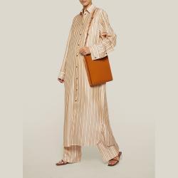 Jil Sander Brown Tangle Medium Leather Bag One Size