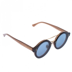 Jimmy Choo Light Brown/Blue Smoke Montie Round Sunglasses