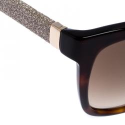 Jimmy Choo Brown Tortoise Gradient Cora Square Sunglasses
