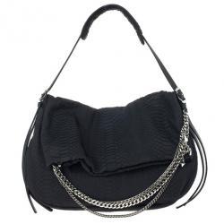 Jimmy Choo Black Slate Python Shoulder Bag