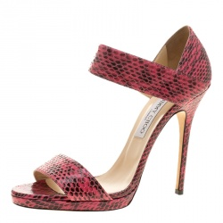 d452eebe0ccb Jimmy Choo Pink Python Lee Sandals Size 41