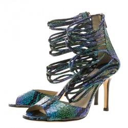 Jimmy Choo Mulitcolor Python Leather Shakira  Strappy Sandals Size 37