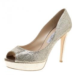 9505c47e194a Jimmy Choo Metallic Champagne Glitter Fabric Dahlia Peep Toe Platform Pumps  Size 41.5