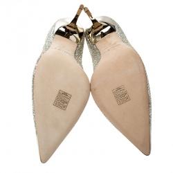 Jimmy Choo Metallic Champagne Lamé Glitter Fabric Abel Pointed Toe Pumps Size 42