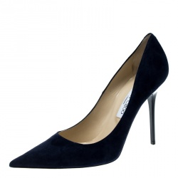 2507240e4735 Jimmy Choo Navy Blue Suede Abel Pointed Toe Pumps Size 41