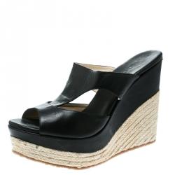 Jimmy Choo Black Cut Out Leather Pledge Espadrille Wedge Platform Sandals Size 42