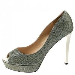 b7858f6d50ef Jimmy Choo Metallic Champagne Glitter Fabric Dahlia Peep Toe Platform Pumps  Size 41.5