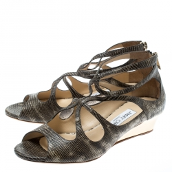 Jimmy Choo Two Tone Lizard Embossed Leather Lava Cut Out Wedge Sandals Size 37.5
