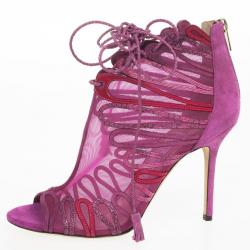 Jimmy Choo Magenta Kafira Mesh and Suede Lace-Up Ankle Booties Size 39.5