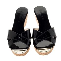 Jimmy Choo Black Patent Leather Panna Cork Mules Size 38