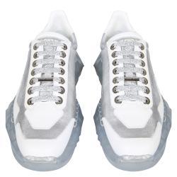 Jimmy Choo Silver Leather Diamond Sneakers Size EU 39