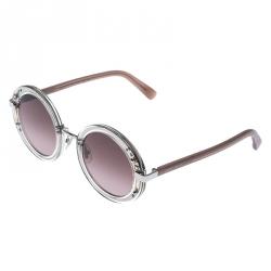 Jimmy Choo Palladium/ Brown Gradient Crystal Embellished GEMS Round Sunglasses
