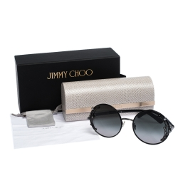 Jimmy Choo Black Crystal Embellished/ Green Gradient GEMA/S Round Sunglasses