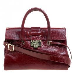 ee8b3f6aa29d Jimmy Choo Dark Red Lizard Embossed Patent Leather Rosalie Satchel