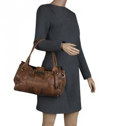0ae8f16c6186 Jimmy Choo Brown Python Embossed Leather Rosalie Top Handle Bag
