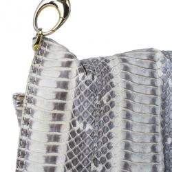 Jimmy Choo Cream Python Embossed Leather Chrissie Shoulder Bag