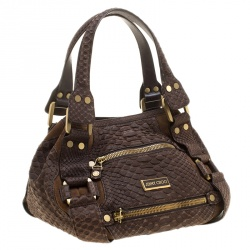 Jimmy Choo Brown Python and Suede Mahala Satchel