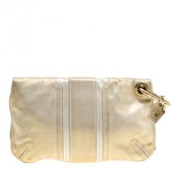 Jimmy Choo Gold Shimmering Leather Mave Foldover Clutch