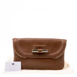 Jimmy Choo Brown Leather Jasmine Clutch
