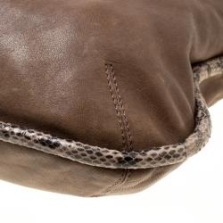 Jimmy Choo Brown Leather and Snake Trim Zoe Hobo