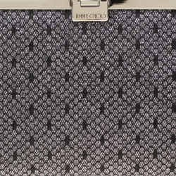 Jimmy Choo Black/Silver Lace and Glitter Fabric Camille Clutch