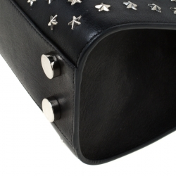 Jimmy Choo Black Star Studded Leather Riley Top Handle Bag