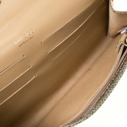 Jimmy Choo Gold  Lace and Glitter Fabric Riane Clutch