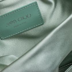 Jimmy Choo Mint Green Satin Titania Crystal Embellished Clutch