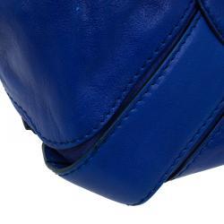 Jimmy Choo Blue Leather Mahala Satchel
