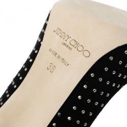 Jimmy Choo Black Suede Anouk Studded Pumps Size 38