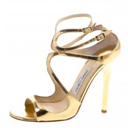 236b304127f Jimmy Choo Metallic Gold Mirror Leather Lance Strappy Sandals Size 38