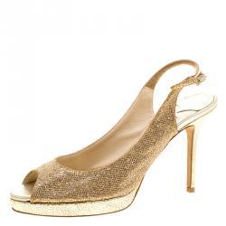 16eb4e0c50d5 Jimmy Choo Metallic Gold Glitter Fabric Clue Peep Toe Platform Slingback  Sandals Size 38