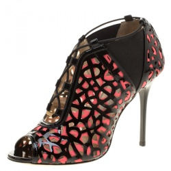 3c0c96c97ec Jimmy Choo Two Tone Laser Cut Leather and Fabric Tactic Lace Up Booties Size  35