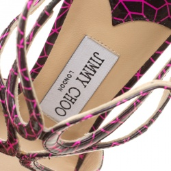 Jimmy Choo Pink and Black Print Patent Lance Strappy Sandals Size 35.5