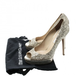 Jimmy Choo Metallic Gold Coarse Glitter Crown Peep Toe Platform Pumps Size 39