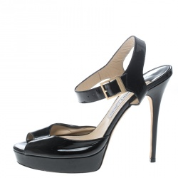 d506515e0 Jimmy Choo Black Patent Leather Linda Ankle Strap Sandals Size 42