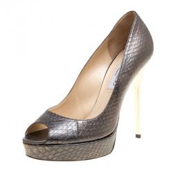 13fd82e61ca4 Jimmy Choo Metallic Python Embossed Leather Dahlia Peep Toe Platform Pumps  Size 38.5